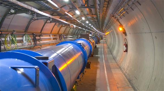 Photo of the underground tunnel with the LHC